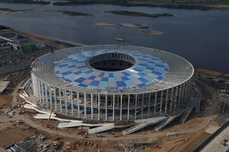 Vista aérea do estádio de Nijni Novgorod, uma das sedes da Copa do Mundo da Rússia