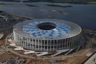 An aerial view shows Nizhny Novgorod stadium under construction, ahead of 2018 FIFA World Cup in Nizhny Novgorod