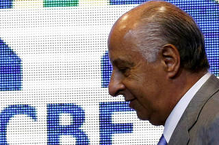 FILE PHOTO: President of Brazilian Soccer Confederation (CBF) Marco Polo Del Nero leaves a news conference after the announcement of the players for the 2018 World Cup qualifiers, in Rio de Janeiro