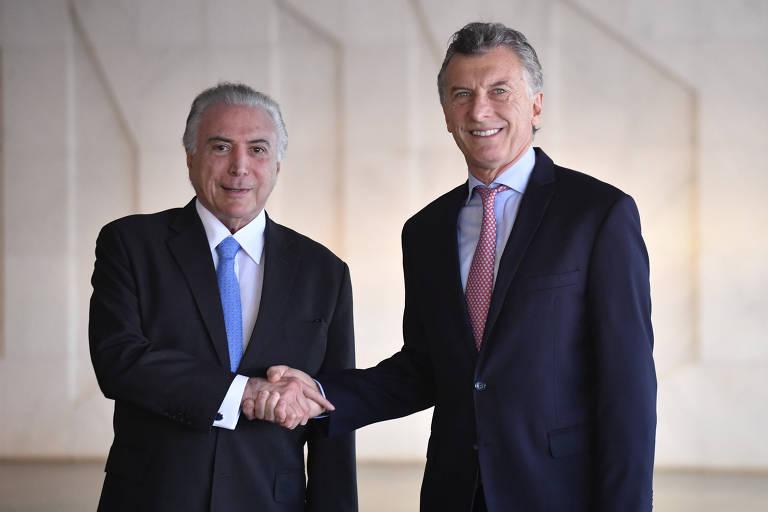 Presidente Michel Temer acompanhado de Mauricio Macri, Presidente da Argentina, durante Cúpula de Chefes de Estado do Mercosul