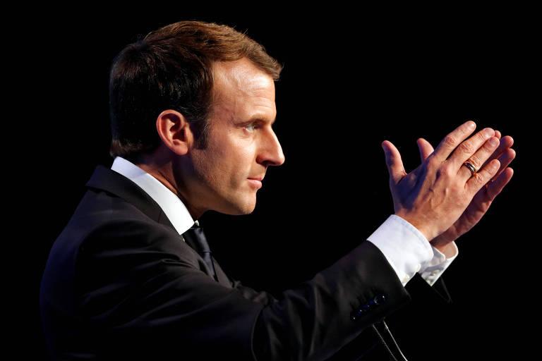 O presidente francês Emmanuel Macron durante discurso em Paris