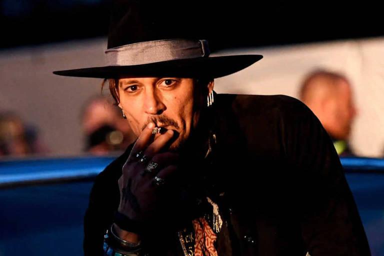 """O ator Johnny Depp antes de apresentare seu filme  """"The Libertine"""", no festival de cinema Britânico em junho de 2017"""