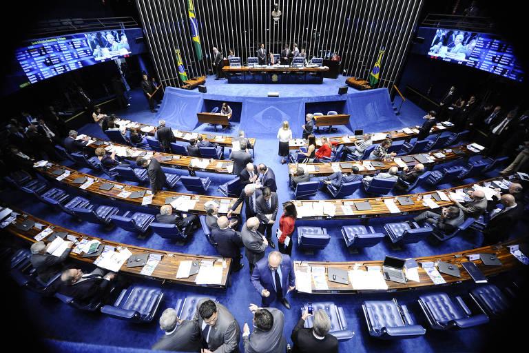 Plenário do Senado durante sessão deliberativa extraordinária