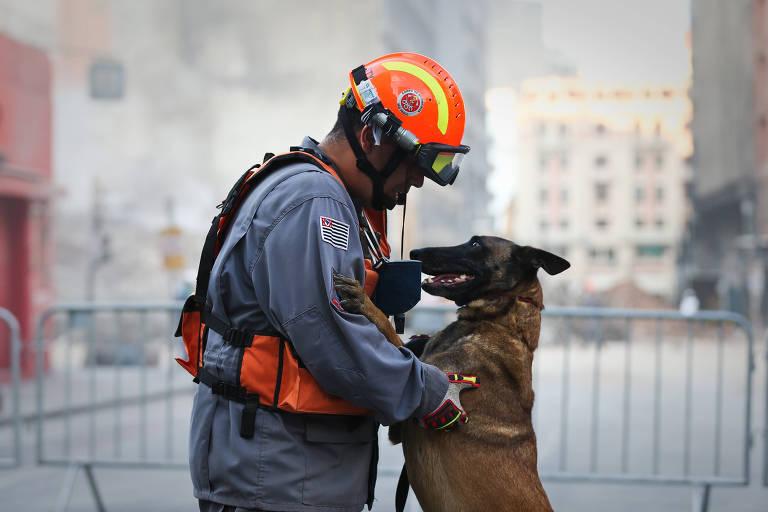 O bombeiro Fabrício Assumpção e a cadela Vasty participam das buscas em destroços no largo do Paissandu, no centro de SP