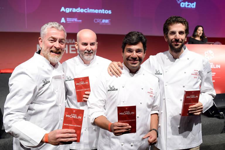 Da esquerda para a direita, os chefs Alex Atala, Geovane Carneiro, Felipe Bronze e Ivan Ralston