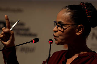 Pre-candidate for Brazil's Presidency Marina Silva attends a general meeting of the National Front of Mayors in Niteroi