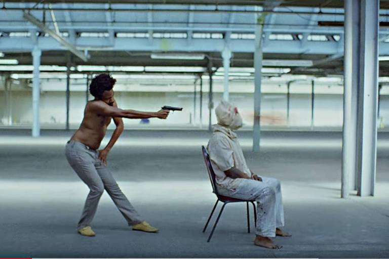 """Cena do videoclipe da música """"This Is America"""", de Childish Gambino, codinome rapper do ator Donald Glover"""