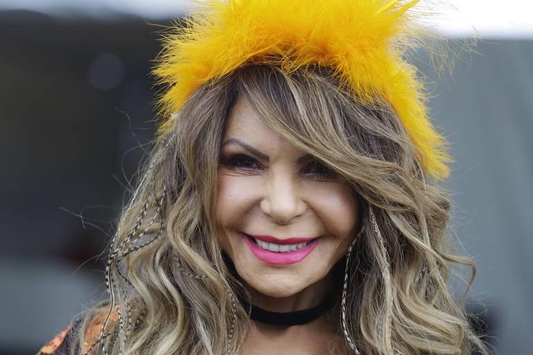 A cantora Elba Ramalho no bloco Frevo Mulher em São Paulo