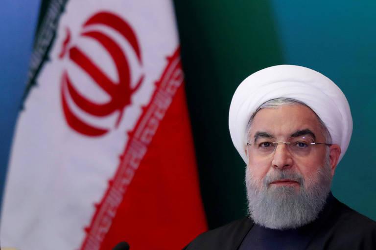 O presidente iraniano, Hassan Rouhani, em encontro com líderes islâmicos na Índia, em fevereiro