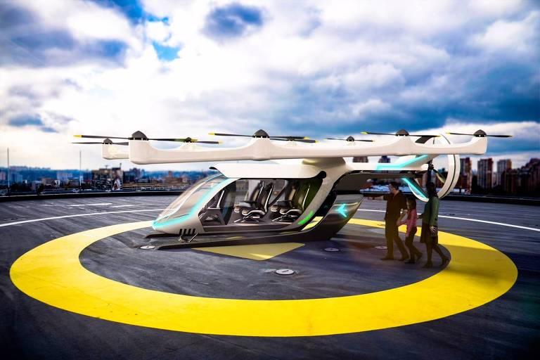 A Embraer revelou nesta terça-feira pela primeira vez seu conceito para o projeto do Uber de lançar até 2020 um veículo voador elétrico para transporte urbano, conhecido pela sigla eVTOL