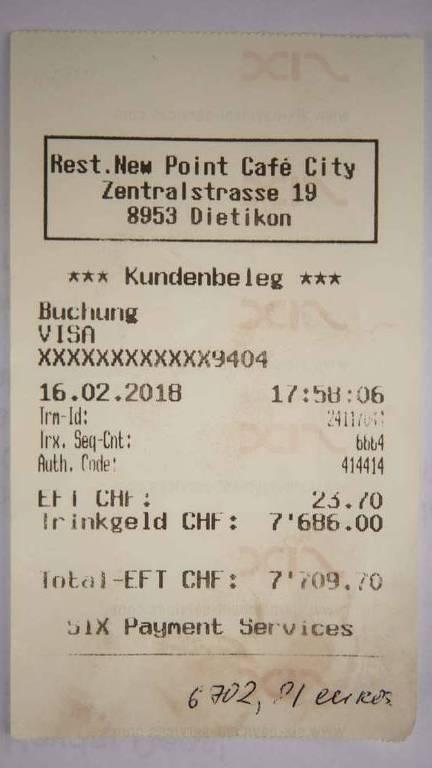 Extrato da gorjeta de 7 mil francos paga por turista por engano