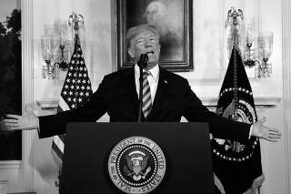 U.S. President Donald Trump announces his intention to withdraw from the JCPOA Iran nuclear agreement at the White House in Washington