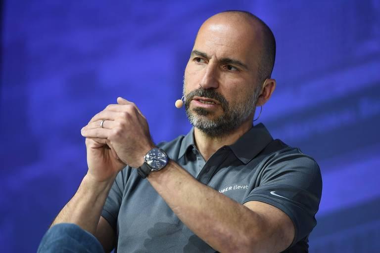 Dara Khosrowshahi, presidente-executivo da Uber, em evento em Los Angeles
