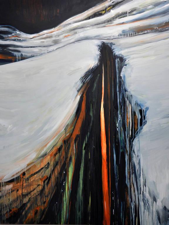 pintura de fenda na neve