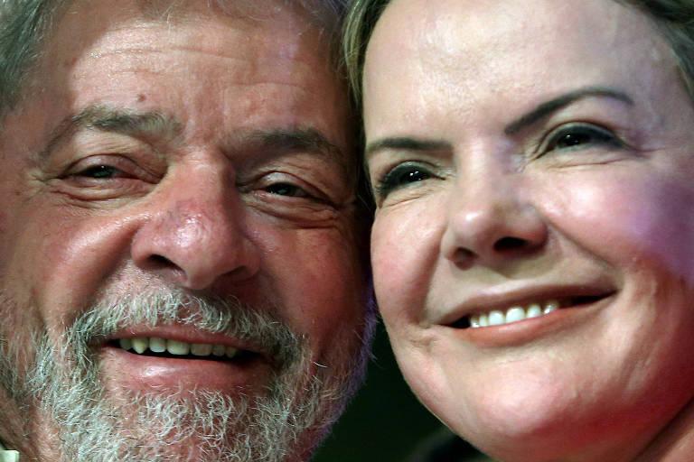 O ex-presidente Lula e a presidente do PT, Gleisi Hoffmann