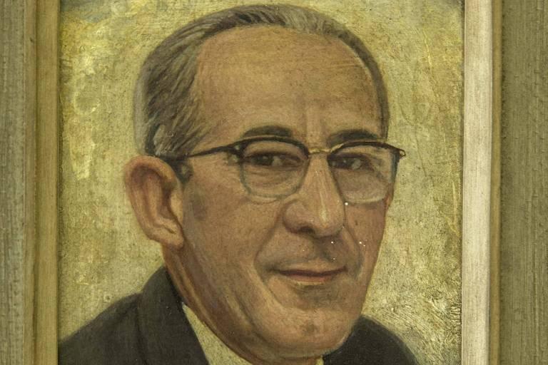 Réplica do retrato de Wilton Paes de Almeida que ficava no antigo Banco Nacional do Comércio de SP, que ele presidiu