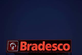 FILE PHOTO: The logo of Banco Bradesco is seen on a branch  in Osasco financial centre