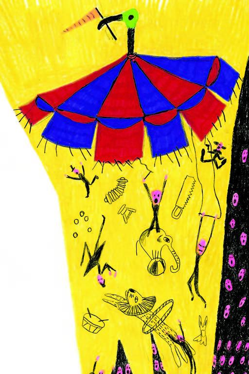 lona de circo voando