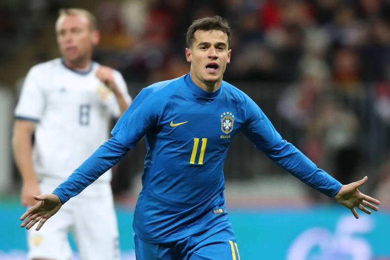 Coutinho marcou um dos gols brasileiros na vitória sobre a Rússia, em amistoso