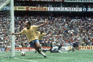 1970 World Cup Final, Mexico City, Mexico 21st June, 1970. Brazil 4 v Italy 1. Brazil's Tostao and Pele celebrate a Brazilian goal in the World Cup Final.