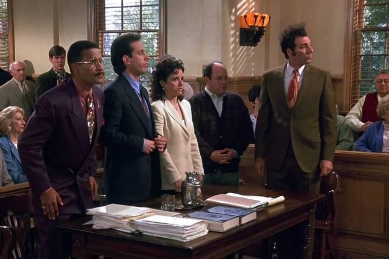 Cena do último episódio da série 'Seinfeld'