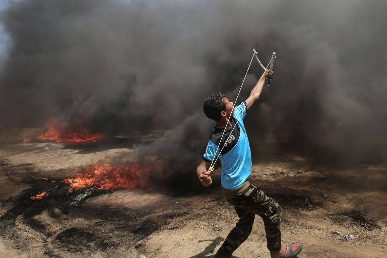 Protesto na faixa de Gaza