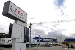 FILE PHOTO: General view of Brazilian meatpacker JBS SA in the city of Lapa