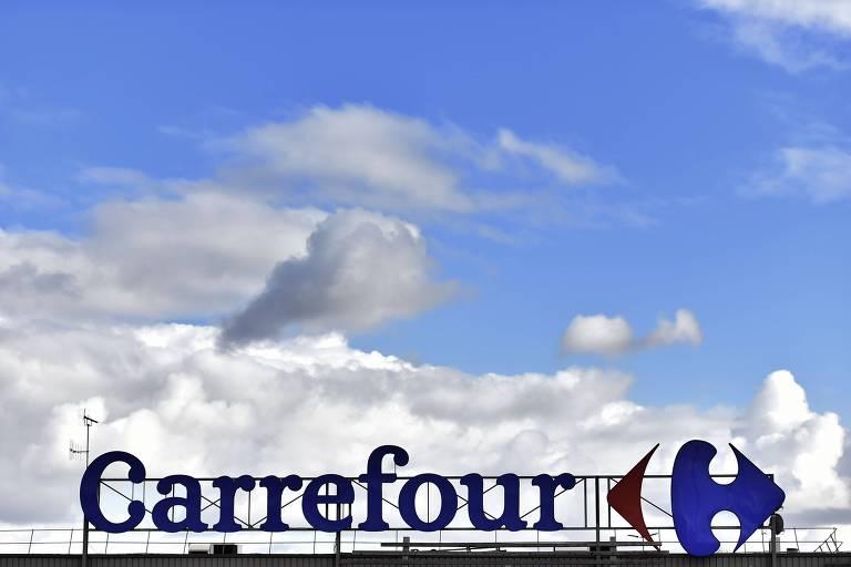 Foto tirada em 26 de janeiro de 2018 mostra o logotipo do Carrefour em Nantes (França)