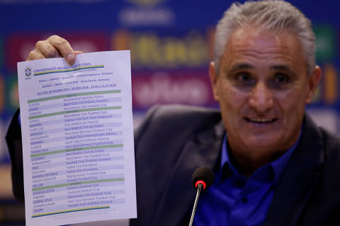 Brazil's head coach Tite shows the list with his 23-man squad for the 2018 World Cup in Russia during a news conference in Rio de Janeiro, Brazil May 14, 2018. REUTERS/Ricardo Moraes ORG XMIT: RJO12