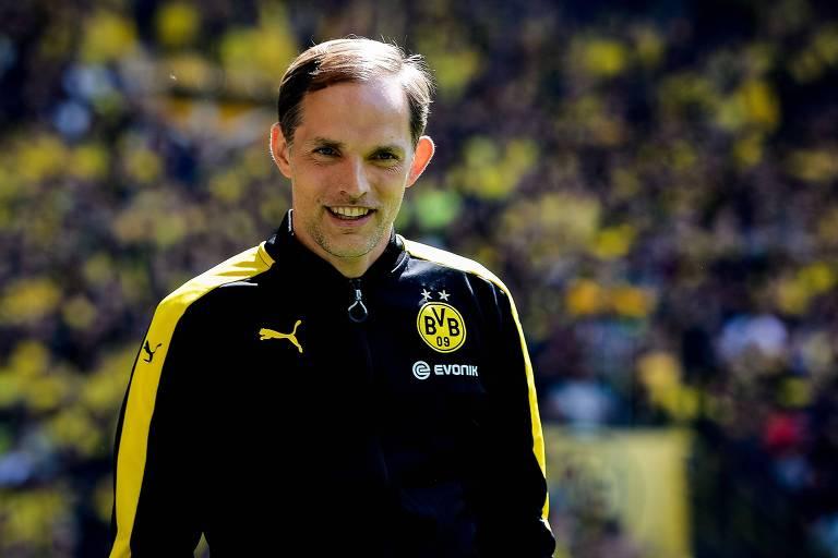 O técnico Thomas Tuchel, durante partida do Borussia Dortmund em 2017, foi anunciado como novo treinador do Paris Saint-Germain