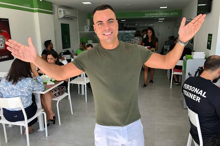 O empresário Biel Maciel é um dos sócios do restaurante Green Station na Barra da Tijuca, no Rio