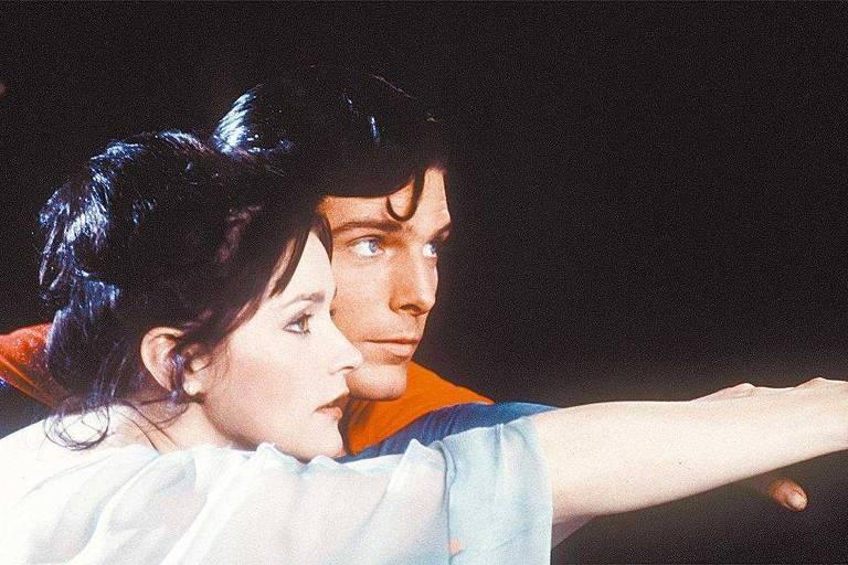 """Os atores Margot Kidder e Christopher Reeve em cena do filme """"Super-Homem"""""""