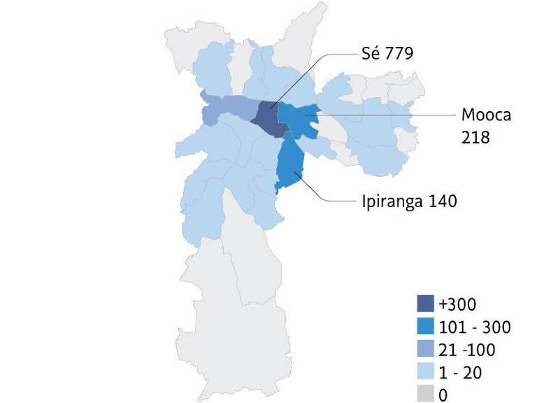 Mapa mostra bairros com mais notificações de IPTU progressivo, com a região central mais escura.
