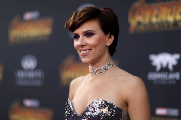 """A atriz Scarlett Johansson na estreia de """"Avengers: Guerra Infinita"""", em abril de 2018"""
