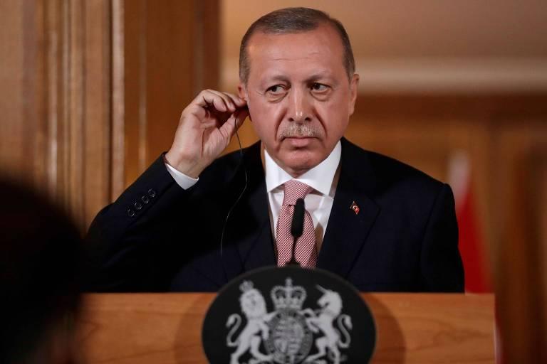 O presidente da Turquia Recep Tayyip Erdogan em Londres