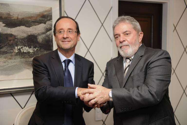 Ex-presidente da França François Hollande, que assinou manifesto em favor de Lula, se encontra com ex-presidente em Madri