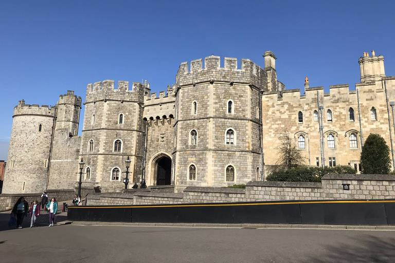 Vista exterior do castelo de Windsor, onde será o casamento de Harry e Meghan Markle