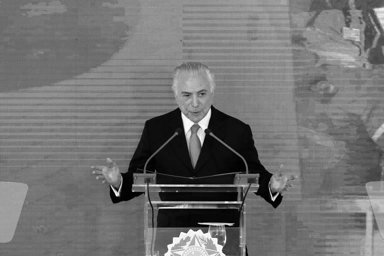 O presidente da República, Michel Temer, discursa no Palácio do Planalto, em Brasília, durante cerimônia para celebrar seus dois anos de governo
