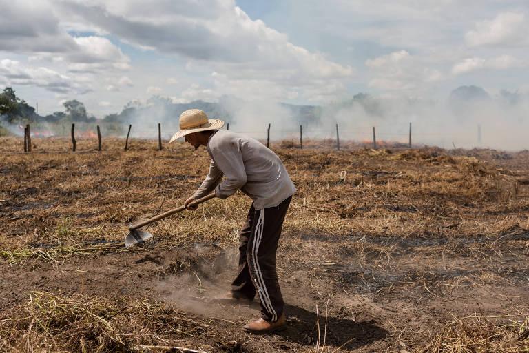 Agricultores usam fogo para ajudar a limpar o terreno do novo plantio de feijão no cerrado brasileiro, região de Barreiras, na Bahia