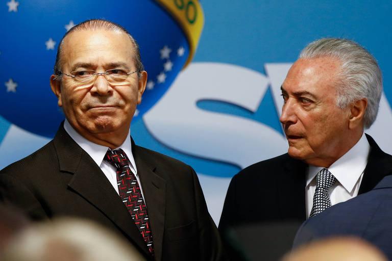 O presidente Michel Temer, ao lado do ministro Eliseu Padilha (Casa Civil), em Brasília