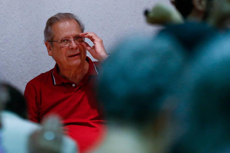 O ex-ministro José Dirceu durante ato em Brasília