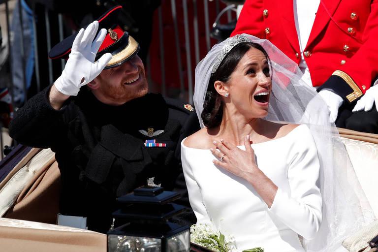 Fãs reais durante o casamento de Harry e Meghan