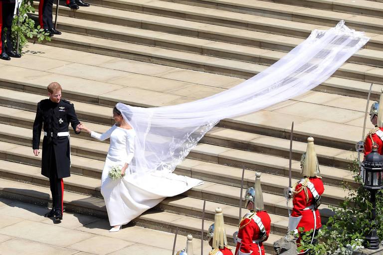 Príncipe Harry e Meghan Markle em casamento real