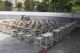 A polling station stands empty during the presidential election in Caracas