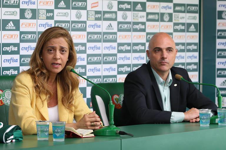 A empresária Leila Pereira, presidente da Crefisa e da FAM (principais patrocinadoras do clube), e o presidente do Palmeiras, Maurício Galiotte