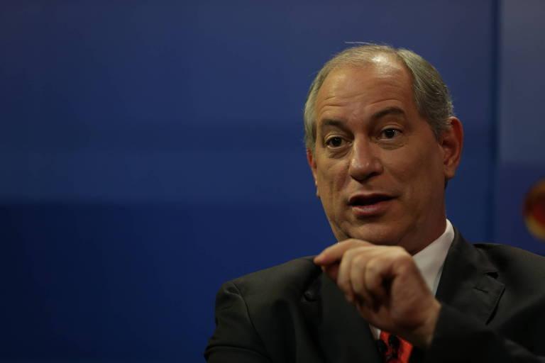 O candidato à Presidência Ciro Gomes (PDT) durante sabatina realizada por Folha, UOL e SBT
