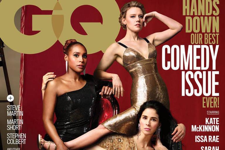 Capa da revista GQ, em edição americana, que mostra humoristas com mais pernas e braços