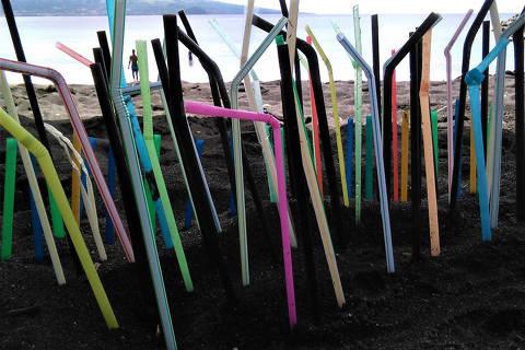 Projeto Plasticus Maritimus -        Canudinhos recolhidos num dia de coleta na praia no projeto Plasticus Maritimus ORG XMIT: GlMmWhcZdti8tsLtFJtu DIREITOS RESERVADOS. NÃO PUBLICAR SEM AUTORIZAÇÃO DO DETENTOR DOS DIREITOS AUTORAIS E DE IMAGEM