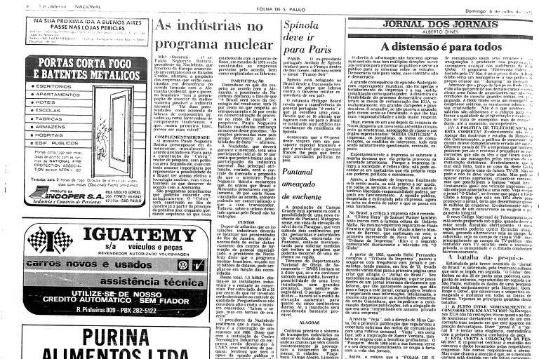 """Reprodução da primeira coluna """"Jornal dos Jornais"""", na edição de 6/7/1975 da Folha"""