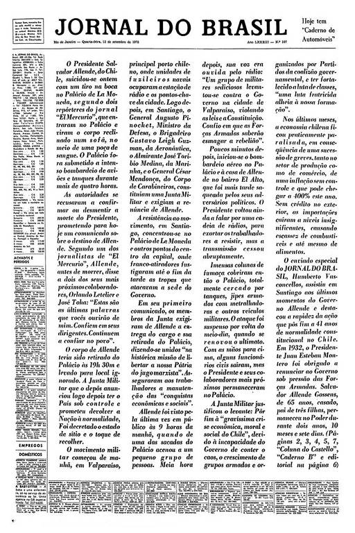 Capa do Jornal do Brasil anuncia, sem manchete, a morte do presidente chileno Salvador Allende